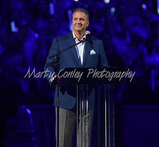 Kentucky head coach, John Calipari talks to the Rupp Arena crowd on Friday evening during Big Blue Madness.  MARTY CONLEY/ FOR THE DAILY INDEPENDENT