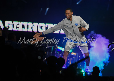 PJ Washington of Kentucky is introduced to the crowd during Big Blue Madness on Friday evening in Lexington.  MARTY CONLEY/ FOR THE DAILY INDEPENDENT