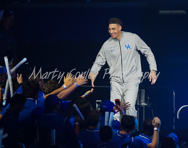 Kentucky's Reid Travis is introduced to the crowd at Big Blue Madness on Friday evening in Lexington.  MARTY CONLEY/ FOR THE DAILY INDEPENDENT