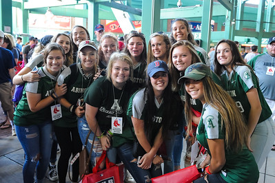 Abington High School Softball players gathering at Fenway Park prior to the Red Sox game against Cleveland on 8/20/18. The team was recognized on field for their Division 3 State Softball Title, the first in school history [Courtesy Photo/Bill Marquardt]
