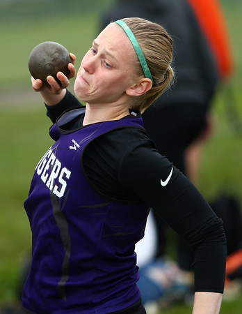 4-24-18<br /> Northwestern Relays<br /> NW's Bailey Fillenwarth in the shot put.<br /> Kelly Lafferty Gerber   Kokomo Tribune