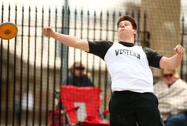 4-28-18<br /> Kokomo Relays<br /> Western's Tyler Gilbert in the discus.<br /> Kelly Lafferty Gerber   Kokomo Tribune