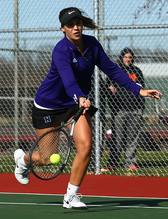 4-19-18<br /> Northwestern girls tennis<br /> 1 doubles Sarah Vas<br /> Kelly Lafferty Gerber   Kokomo Tribune