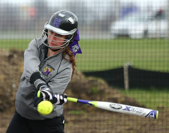 4-17-18<br /> Northwestern vs Western softball<br /> NW's Lexi Robinson bats.<br /> Kelly Lafferty Gerber | Kokomo Tribune