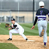 4-18-18<br /> Northwestern vs Western baseball<br /> Western's Tyler Knepley catches the throw to second to get NW's Ben Harris out.<br /> Kelly Lafferty Gerber | Kokomo Tribune