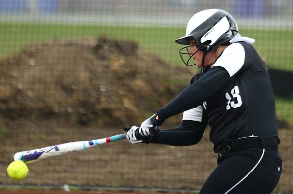 4-17-18<br /> Northwestern vs Western softball<br /> Western's Kinsey Smith bats.<br /> Kelly Lafferty Gerber   Kokomo Tribune