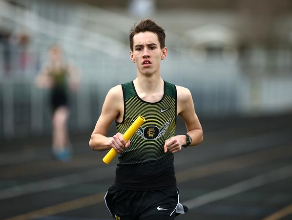 4-21-18<br /> Eastern Relays<br /> Joshua Reprogle runs the last leg of the boys distance medley relay.<br /> Kelly Lafferty Gerber | Kokomo Tribune