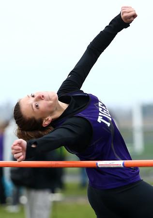 4-24-18<br /> Northwestern Relays<br /> NW's Rachel Mast in the high jump.<br /> Kelly Lafferty Gerber | Kokomo Tribune