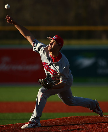 4-20-18<br /> Kokomo vs Western baseball<br /> Kokomo's Kyle Wade pitches.<br /> Kelly Lafferty Gerber | Kokomo Tribune