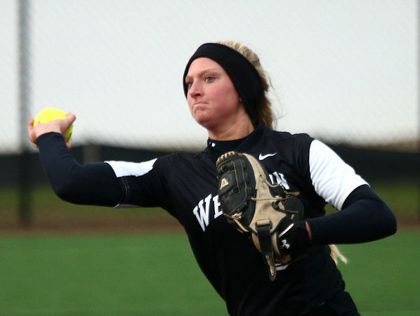 4-17-18<br /> Northwestern vs Western softball<br /> Western's Tori Turner throws the ball to first for an out.<br /> Kelly Lafferty Gerber   Kokomo Tribune