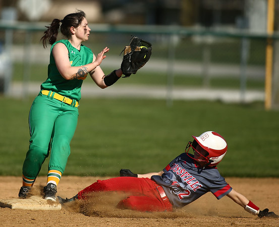 4-26-18<br /> Eastern vs Rossville softball<br /> Eastern's Lileigh Horner gets Rossville's Cassidy Underwood out at second.<br /> Kelly Lafferty Gerber | Kokomo Tribune