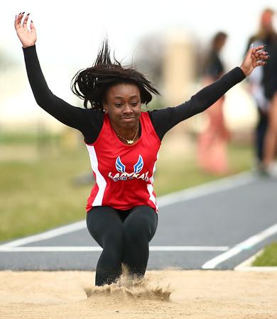 4-28-18<br /> Kokomo Relays<br /> Kokomo's La'Bria Williams in the girls long jump.<br /> Kelly Lafferty Gerber | Kokomo Tribune