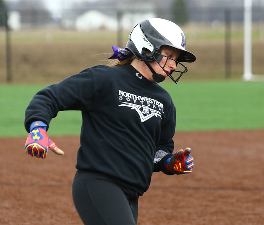 4-17-18<br /> Northwestern vs Western softball<br /> NW's Chase Butcher rounds third and heads for home.<br /> Kelly Lafferty Gerber