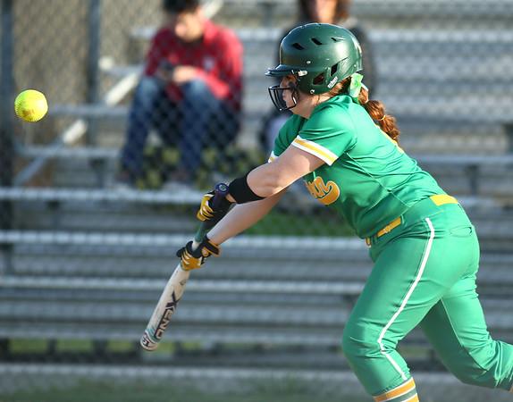 4-26-18<br /> Eastern vs Rossville softball<br /> Maci Weeks goes for the bunt.<br /> Kelly Lafferty Gerber | Kokomo Tribune
