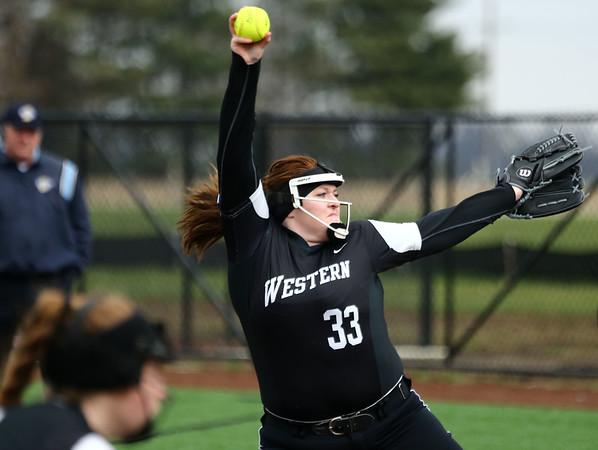 4-17-18<br /> Northwestern vs Western softball<br /> Western's Brooklyn Shelton pitches.<br /> Kelly Lafferty Gerber