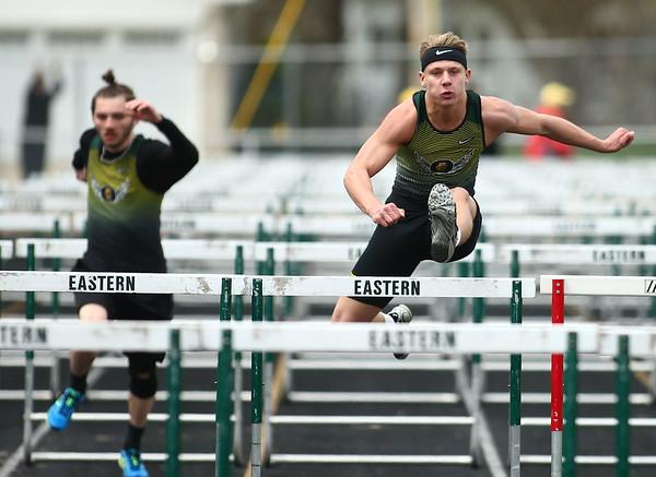 4-21-18<br /> Eastern Relays<br /> Dakota Spencer in the boys 110m hurdles.<br /> Kelly Lafferty Gerber   Kokomo Tribune