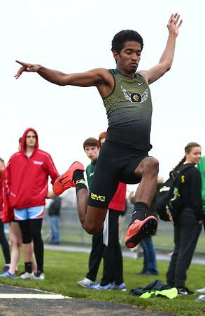 4-24-18<br /> Northwestern Relays<br /> Eastern's Greg Black in the long jump.<br /> Kelly Lafferty Gerber   Kokomo Tribune