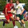 8-14-18<br /> Kokomo vs Eastern boys soccer<br /> Kokomo's Elijah Lawson and Eastern's Luke Swartzendruber go after the ball.<br /> Kelly Lafferty Gerber | Kokomo Tribune