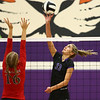 8-16-18<br /> Northwestern vs Logansport volleyball<br /> Madison Layden tips the ball over the net.<br /> Kelly Lafferty Gerber | Kokomo Tribune