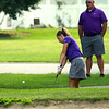 Northwestern Golfer Audrey Koetter chipping onto the 5th green with the coach standing behind her on Aug. 13, 2018, at Chippendale GC.<br /> Tim Bath | Kokomo Tribune