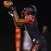 8-24-18<br /> Taylor vs Tri Central football<br /> Taylor's Jaylon Harris makes an interception.<br /> Kelly Lafferty Gerber | Kokomo Tribune