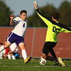 8-28-18<br /> Western vs Northwestern boys soccer<br /> Western goalie Adam Barber looks to block NW's Mason Pfefferkorn's kick.<br /> Kelly Lafferty Gerber | Kokomo Tribune