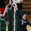 8-22-18<br /> Eastern vs Western volleyball<br /> Western's Karlyne Shepherd and Eastern's Morgan White battle at the net.<br /> Kelly Lafferty Gerber | Kokomo Tribune
