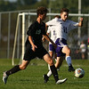 8-28-18<br /> Western vs Northwestern boys soccer<br /> NW's Patrick Bath takes control of the ball from Western's Hayden Turner.<br /> Kelly Lafferty Gerber | Kokomo Tribune