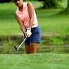 Western Golfer Trina Gill chipping onto the 5th green on Aug. 13, 2018, at Chippendale GC.<br /> <br /> Tim Bath | Kokomo Tribune