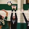 8-22-18<br /> Eastern vs Western volleyball<br /> Western's Hanna Merica and Hilary Merica put up the block against Eastern's Morgan White.<br /> Kelly Lafferty Gerber | Kokomo Tribune