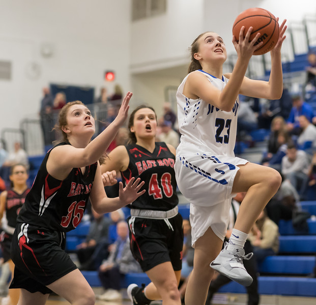 Abigail Branner goes for a layup
