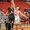 Naomi Gibson and Amaya Lucas reach for the opening tipoff