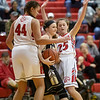 Naomi Gibson and Makenna Siever trap the ball during an inbound from Gap
