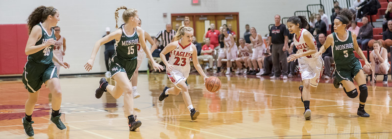 Madison Voight brings the ball down court