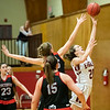 Rebecca Harvey puts up a shot under the basket