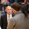 Coach Keyes gives a post game interview to TV3