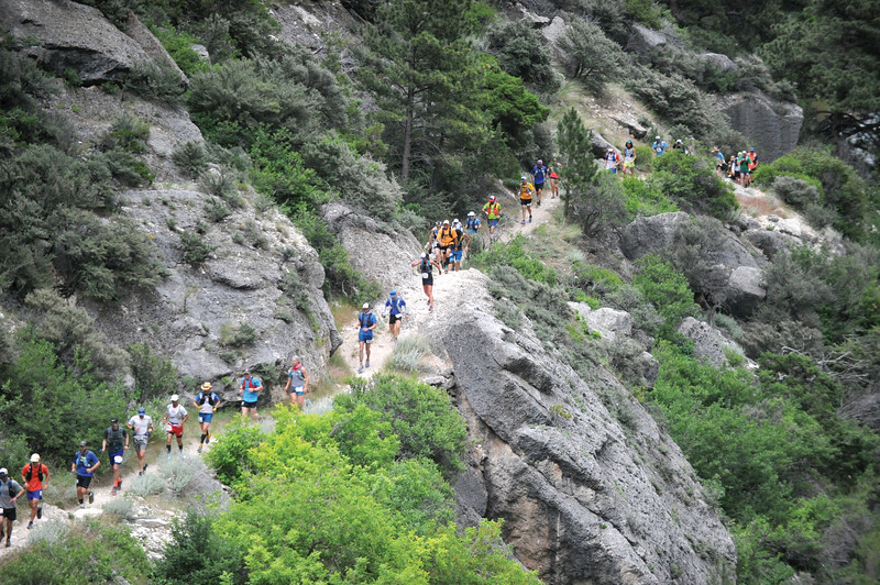 Bud Denega | The Sheridan Press<br /> Runners traverse through Tongue River Canyon during the Bighorn Trail Run Friday, June, 15, 2018.