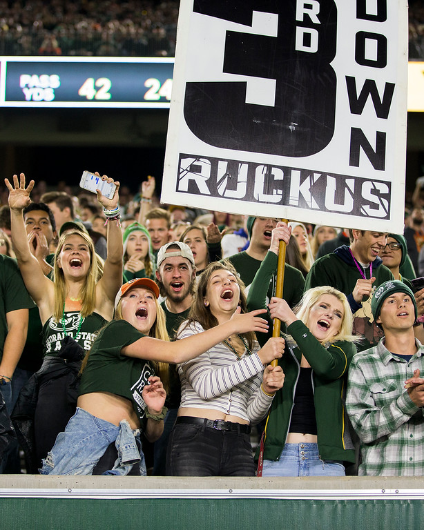 . Colorado State students get rowdy during a Wyoming third down attempt Friday evening Oct., 26 2018 at Canvas Stadium in Fort Collins. (Michael Brian/For the Reporter-Herald)