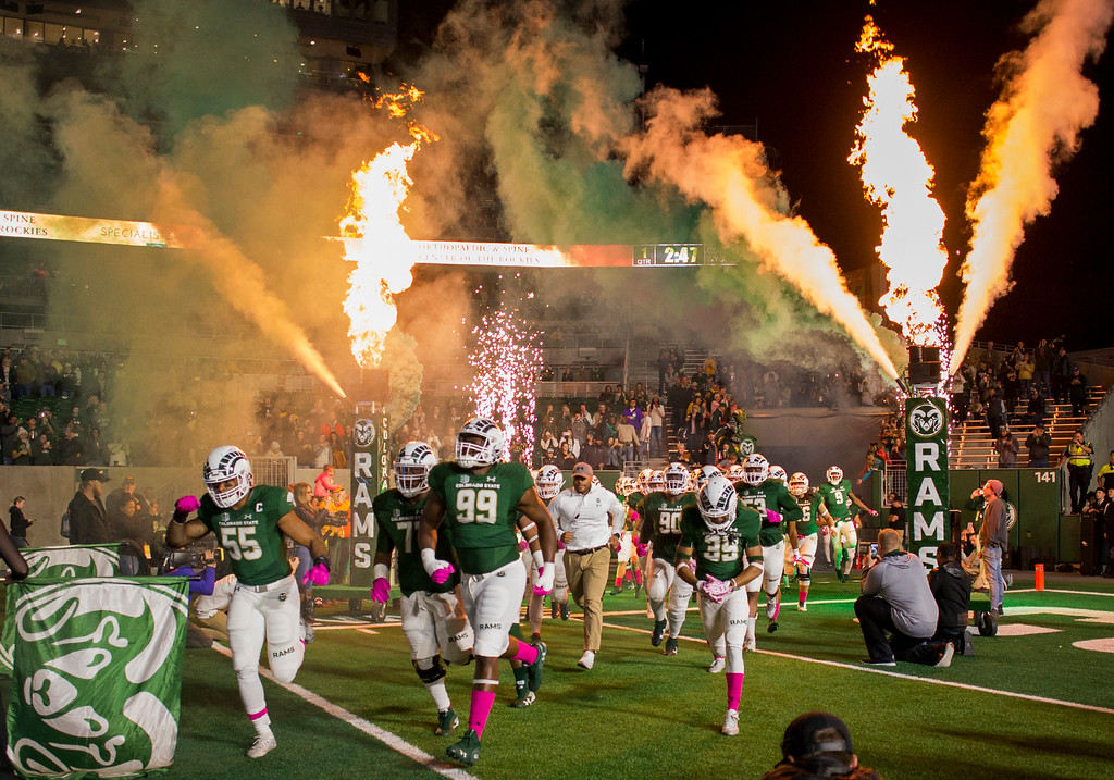 . Colorado State takes the field to face Wyoming Friday evening Oct., 26 2018 at Canvas Stadium in Fort Collins. (Michael Brian/For the Reporter-Herald)
