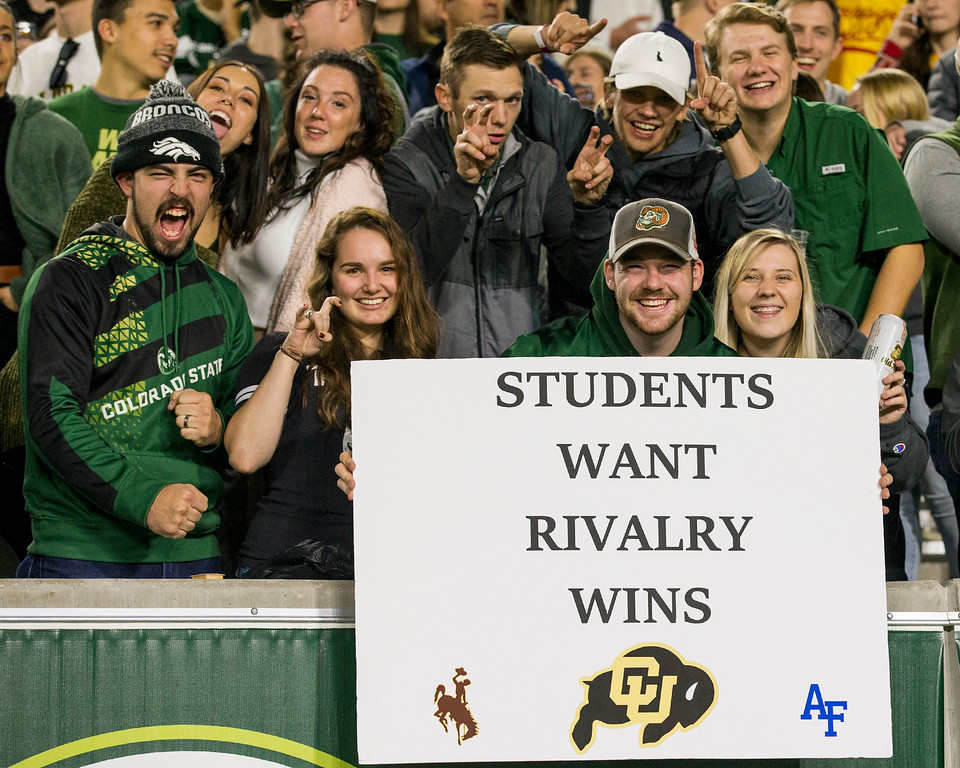 . Colorado State fans cheer for the home team against Wyoming Friday evening Oct., 26 2018 at Canvas Stadium in Fort Collins. (Michael Brian/For the Reporter-Herald)