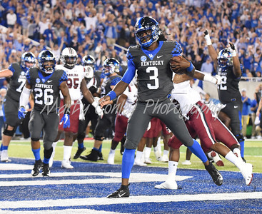 Terry Wilson of Kentucky gets into the endzone for a touchdown Saturday evening against South Carolina.  MARTY CONLEY/ FOR THE DAILY INDEPENDENT