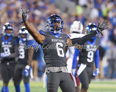 Lonnie Johnson Jr. of Kentucky reacts after a big defensive play on Saturday against South Carolina.  MARTY CONLEY/ FOR THE DAILY INDEPENDENT