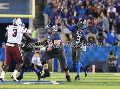 Kentucky quarterback, Terry Wilson releases a pass on Saturday evening against South Carolina.  MARTY CONLEY/ FOR THE DAILY INDEPENDENT