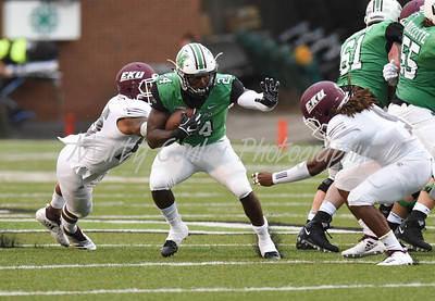 Marshall's Keion Davis looks for running room on Saturday against EKU.  MARTY CONLEY/ FOR THE DAILY INDEPENDENT