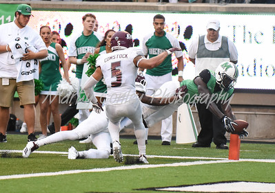 Marshall's Tyre Brady stretches across the goal line for a touchdown on Saturday against EKU.  MARTY CONLEY/ FOR THE DAILY INDEPENDENT