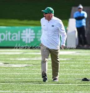 Marshall head coach, Doc Holliday shows frustration after a call on Saturday against FAU.  MARTY CONLEY/ FOR THE DAILY INDEPENDENT