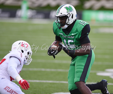 Marshall's Armani Levias heads to the endzone for a touchdown against FAU on Saturday.  MARTY CONLEY/ FOR THE DAILY INDEPENDENT