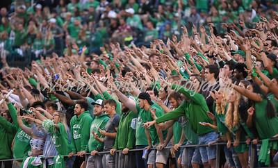 The Marshall student section chant before a third down play on Saturday against North Carolina State on Saturday.  MARTY CONLEY/ FOR THE DAILY INDEPENDENT
