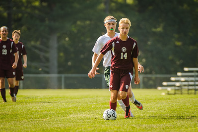 Varsity soccer between Newfound (white) and Derryfield (maroon) held on August 24, 2018 at the The Derryfield School in Manchester, NH.