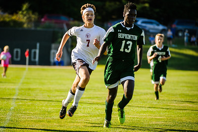 Varsity soccer between Hopkinton (green) and Derryfield (white) held on August 30, 2018 at the Hopkinton High School in Hopkinton, NH.